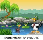 cute ducks swimming on the pond ... | Shutterstock .eps vector #541909246
