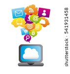 laptop computer with social...   Shutterstock .eps vector #541931458