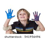 cute young boy playing with... | Shutterstock . vector #541956496
