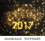 happy new year 2017 gold...   Shutterstock .eps vector #541956685