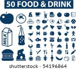50 food   cafe signs. vector