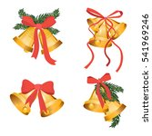 golden christmas bells holiday... | Shutterstock .eps vector #541969246