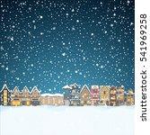 christmas house in snowfall at... | Shutterstock .eps vector #541969258