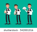 restaurant waiter takes the... | Shutterstock .eps vector #542001316