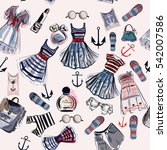 beautiful fashion pattern with... | Shutterstock .eps vector #542007586