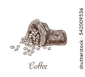 textile bag with coffee  beans. ... | Shutterstock .eps vector #542009536