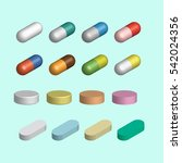 set of tablets and capsules  3d.... | Shutterstock .eps vector #542024356