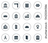 set of 16 simple architecture... | Shutterstock .eps vector #542034586