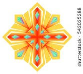 mandala brooch jewelry  design... | Shutterstock .eps vector #542035288