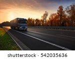 truck transportation at sunset | Shutterstock . vector #542035636
