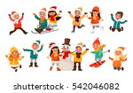 set of children playing in the... | Shutterstock .eps vector #542046082