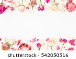 frame with pink roses isolated... | Shutterstock . vector #542050516