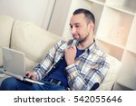 man holding credit card and... | Shutterstock . vector #542055646