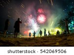 colorful fireworks on the beach ... | Shutterstock . vector #542069506