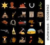 wild west flat set icon | Shutterstock .eps vector #542083462