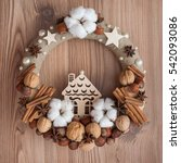 natural christmas wreath on... | Shutterstock . vector #542093086