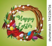 happy easter  floral wreath | Shutterstock .eps vector #542106736