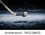 hockey stick and puck on the... | Shutterstock . vector #542118652