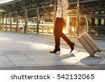young beautiful woman dragging... | Shutterstock . vector #542132065