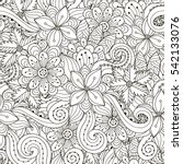black and white floral seamless ... | Shutterstock .eps vector #542133076