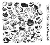 burger ingredients. hand drawn... | Shutterstock .eps vector #542136388
