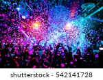 silhouettes of concert crowd in ... | Shutterstock . vector #542141728