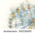 ferris wheel watercolor effect... | Shutterstock . vector #542156695