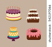 happy birthday cake icon vector ... | Shutterstock .eps vector #542197066