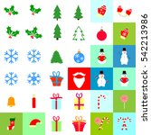 big set christmas icons  flat...