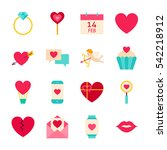 valentines day love objects.... | Shutterstock .eps vector #542218912