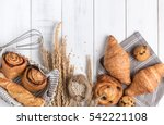 homemade breads or bun on wood... | Shutterstock . vector #542221108