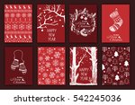 set of hand drawn christmas... | Shutterstock .eps vector #542245036