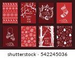 set of hand drawn christmas... | Shutterstock .eps vector #542245036