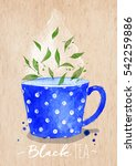 watercolor teacup with black... | Shutterstock . vector #542259886
