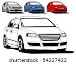 Stock vector vector illustration of generic car isolated on white different colors 54227422