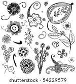 set of sketchy doodle flowers