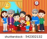 big family with grandparents   | Shutterstock .eps vector #542302132