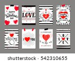 Stock vector vector illustration of valentines day greeting card templates with typography text signs red 542310655