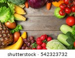fruits and vegetables on wooden ... | Shutterstock . vector #542323732
