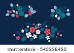 Stock vector vector flat flowers leaves and berries color silhouette background creative design illustration 542338432