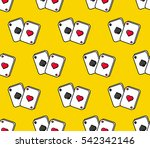 playing cards flat line colored ...   Shutterstock .eps vector #542342146