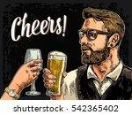 hipster holding glass of beer...   Shutterstock .eps vector #542365402