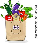a paper bag full of vegetables... | Shutterstock .eps vector #54239293