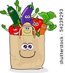 a paper bag full of vegetables... | Shutterstock .eps vector #54239293
