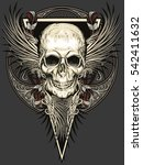 skull with feathers wings and... | Shutterstock .eps vector #542411632