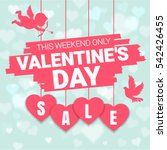 Stock vector valentine s day sale offer banner template pink heart with lettering isolated on blue background 542426455