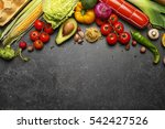 variety of food products on... | Shutterstock . vector #542427526