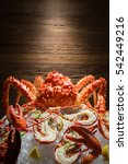 Small photo of close up of all you can eat alaskan king crab and lobster
