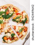 pizza with cauliflower base ... | Shutterstock . vector #542449642