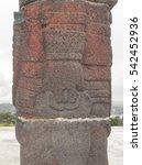 Small photo of Atlantean figures at the top of pyramid in Tula de Allende. Mexico